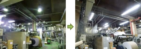 LED照明 施工事例 輪転機